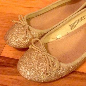 Shoes - Gold sparkle ballet flats
